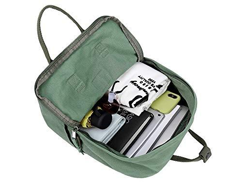 LuckyZ Womens Casual Style Lightweight Canvas Backpack School Bag Travel Daypack Medium Handbag Purse (Army)