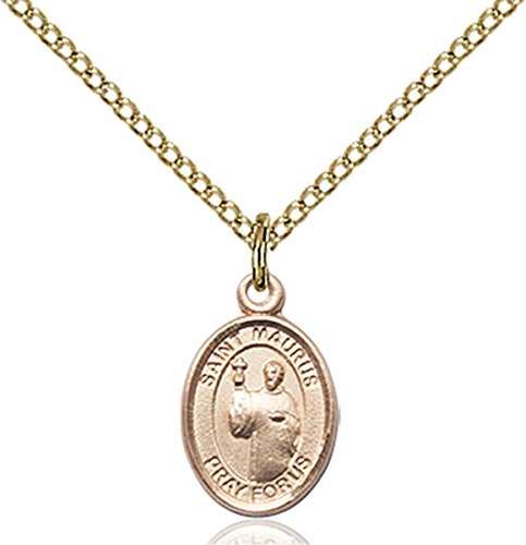 Patron Saints by Bliss 14K Gold Filled Saint Maurus Petite Charm Medal, 1/2 Inch