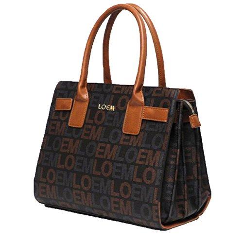 LOEM Monogrammed Signature Shoulder Bag Handbag Brown Pockets Designer Inspired