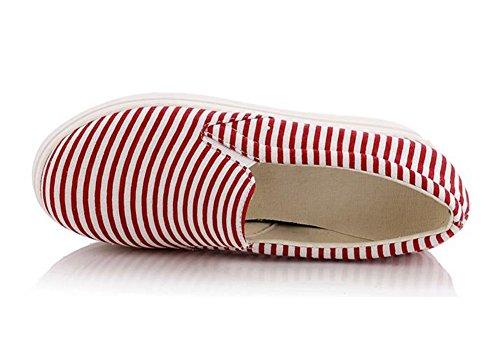Summerwhisper Kvinnor Randig Elastisk Plattform Tygskor Halka På Loafers Låga Toppgymnastikskor Röd