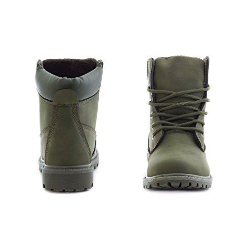 Trendige Unisex Damen Herren Boots Schnür Stiefel Stiefeletten Verde 40