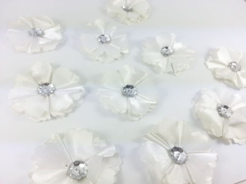 Crystals gems uk 10 stylish white diamante fabric flower motifs crystals gems uk 10 stylish white diamante fabric flower motifs suitable for stick on or sew on ideal for craft sewing and dress making amazon mightylinksfo