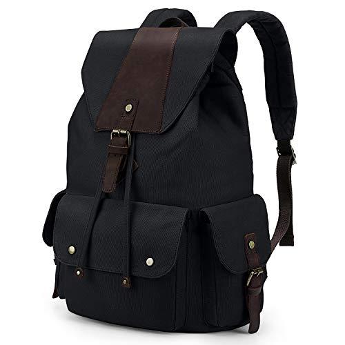 Kattee Canvas Leather Backpack Travel Rucksack School Bag for Men & Women Black