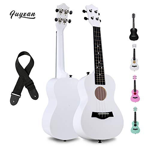 FUYXAN Concert Ukulele with Accessories Nylon Strings Strap, 23 Inch White Ukulele for Beginners Kids, Hawaiian Guitar Starter Uke Musical Instrument for Gift