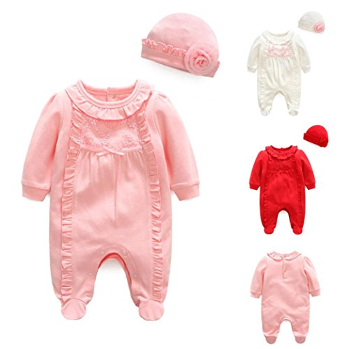 iumei Infant Baby Lace Bowknot Long Sleeve Footed Coverall Newborn Sleep N Play With Hat (0-3 Months, Pink) (Long Sleeve Footed Coverall)