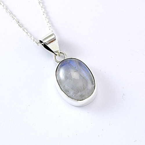 Sterling Silver Genuine Oval Moonstone June Birthstone Handcrafted Pendant 18'' Adjustable Chain - Zodiac Power Pendant