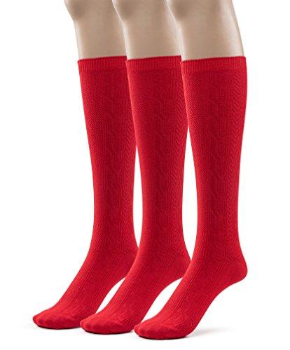 - Girls Bamboo Casual Knee High Socks, School Uniform Colors (Large (9-11), Red)