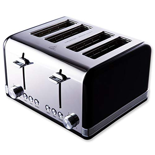 (Gohyo 4 Slice Toaster | Stainless Steel with Wide Slots & Removable Crumb Tray for Bread & Bagels (Black))