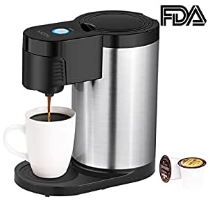 Aicok Single Serve Coffee Maker K Cup, Stainless Steel Coffee Machine for Most Single Cup Pods Including K-Cup Pods, Quick Brew Technology