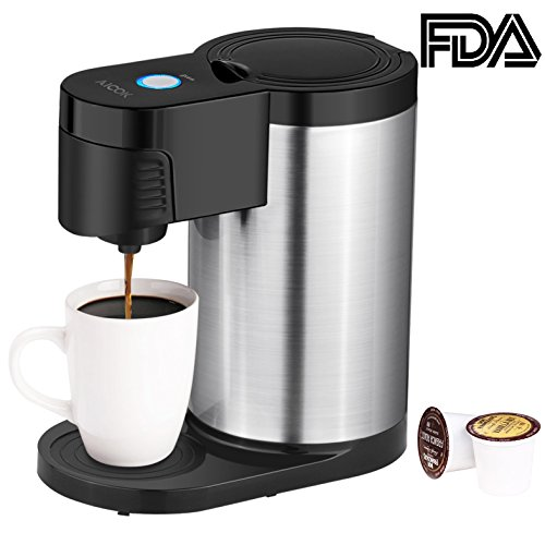 Single Serve Coffee Maker, Aicok Single Cup Coffee Machine for Most Single Cup Pods Including K Cup Pods, One Cup Coffee Brewer with Stainless Steel Body