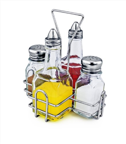 (New Star Foodservice 22209 Combo Set Square and salt pepper shaker holder, 5-Piece, Clear)