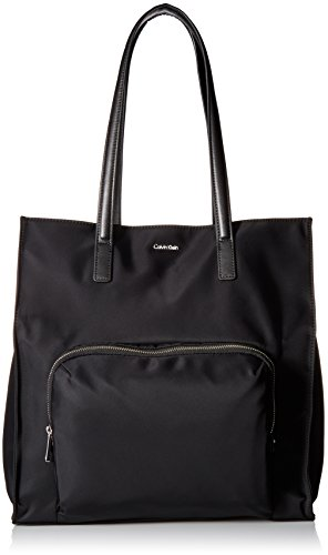 Calvin Klein womens Calvin Klein Tanya Nylon North/South Tote, black/silver, One Size Calvin Klein Nylon Tote