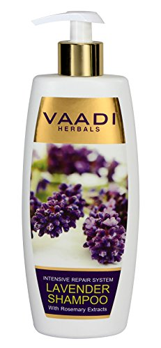 Lavender with Rosemary Extract Shampoo - Intensive Repair Shampoo - ALL Natural Herbal Shampoo - Paraben Free - Sulfate Free - Scalp Therapy - Moisture Therapy - Suitable for All Hair Types - 12.31 Ounces - Vaadi Herbals (Alcohol Free Herbal Shampoo)