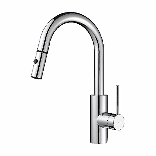Kraus KPF-2620CH Modern Oletto Single Lever Pull Down Kitchen Faucet, Chrome (Chrome Pull Down Kitchen Faucet)