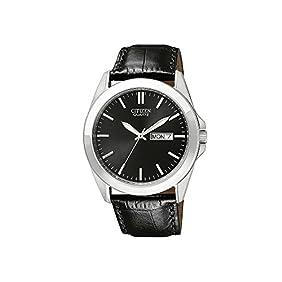 Citizen Men's Black Leather Strap Watch