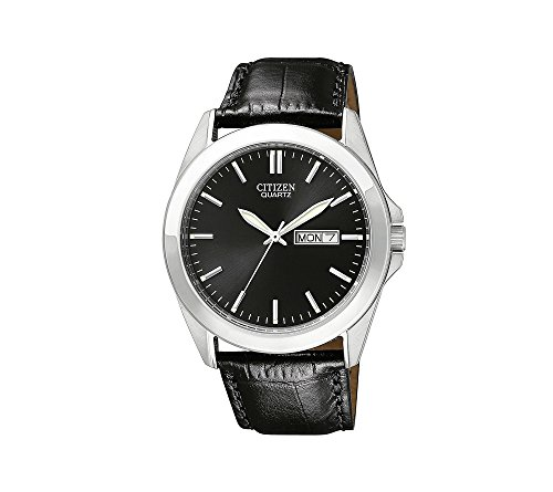 Citizen-Mens-Black-Leather-Strap-Watch