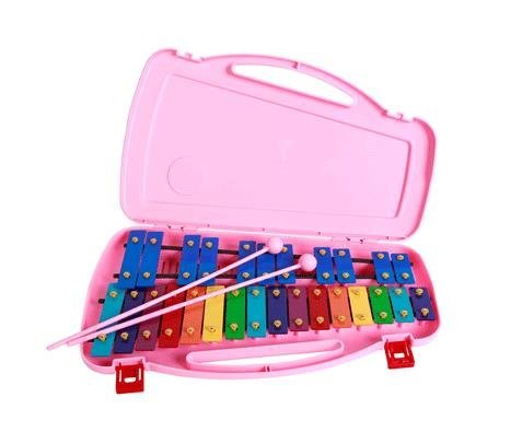 SAMICK 27key Student Xylophone Instrument with case and mallets Pink color