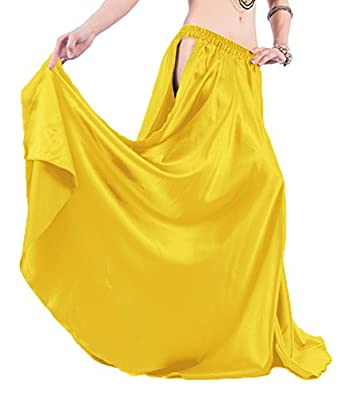 "Indian Trendy 36"" Satin Panel Full Circle Swing Belly Dance Gypsy 2 Slit Skirts"