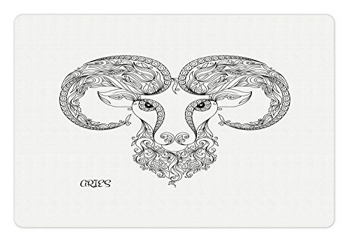 Ambesonne Zodiac Aries Pet Mat for Food and Water, Line Art Style Horoscope Symbol Henna Tattoo Design Floral Curls Spirals, Rectangle Non-Slip Rubber Mat for Dogs and Cats, Black and White - Henna Floral Tattoos