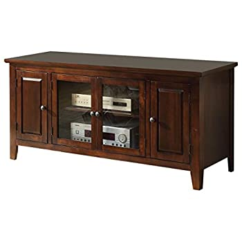Image of ACME Christella TV Stand - 10346 - Chocolate for Flat Screens TVs up to 60' Television Stands & Entertainment Centers