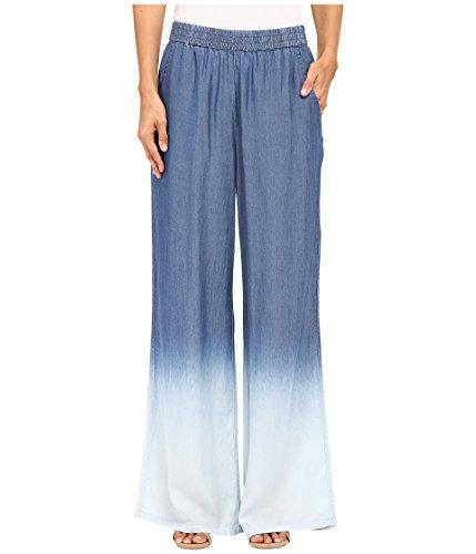 [Nic + Zoe Womens Dip-Dye Flat Front Wide Leg Pants Blue XS] (Flat Front Wide Leg Pants)