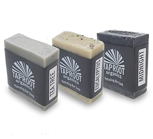 TAPROOT ORGANICS BODY SOAP BARS - Cool Herbal Blends Pack Includes 3 Natural Face Soap for ENTIRE FAMILY Midnight, Tea Tree & Eucalyptus Bar Antifungal, Antibacterial, Cold Process, Vegan (Pack of 3)