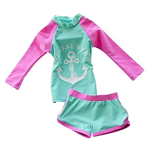 Jojobaby Kid Girl's Two-Piece Long Sleeve Swimsuits Bathing Suit UPF50+ (4-5 Years)