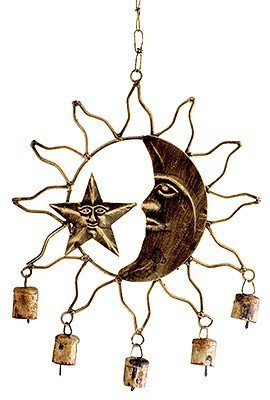 Celestial Wind Chime | Crescent Moon and Star Inside Silhouetted Sun | Copper Colored Metal | 13.5