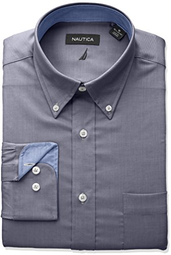 Nautica Men's Classic Fit Performance Oxford Button Down Collar DRS Shirt, Navy, 16 32/33 (Classic Oxford Oxford Shirt)