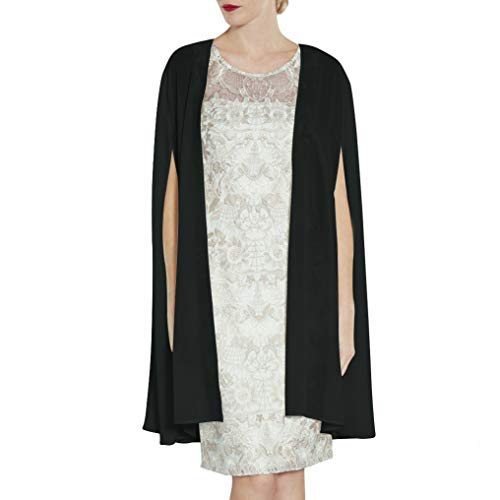 LANSITINA Long Soft Sheer Chiffon Wraps for Evening Party Open Front High Split Sleeve Wedding Capes (W04 -