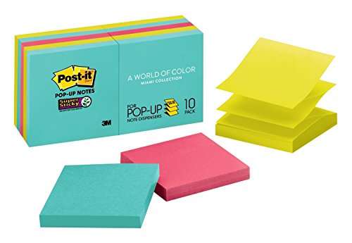 Post-it Super Sticky Pop-up Notes, Miami Colors, 2X the Sticking Power, Designed for Pop-up Note Dispensers, Recyclable, 3 in. x 3 in, 10 Pads/Pack, (R330-10SSMIA)