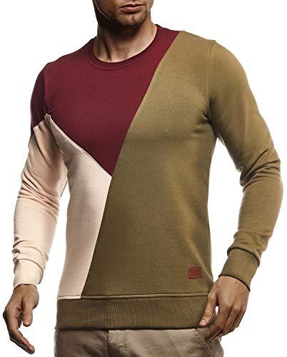 Leif Nelson Herren Sweatshirt Basic Pullover Rundhals-Ausschnitt Longsleeve Langarmshirt für Männer Pulli Rundkragen Langarm Crew Neck Slim Fit LN8336