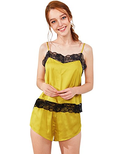 DIDK Women's Lace Trim Velvet Bralette & Shorts Pajama Set Mustard M (Velvet Womens Clothing)
