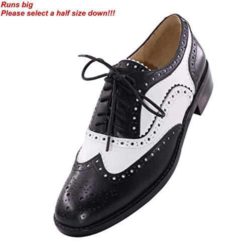1f9033e6ee6bbc JARO VEGA Women s Black White Oxford Saddle Shoes Leather