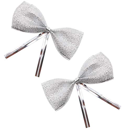 - WSSROGY 100 Pcs Glitter Metallic Double Layer Bows Tie Twist Tie for Gifts Bag Decoration Silver