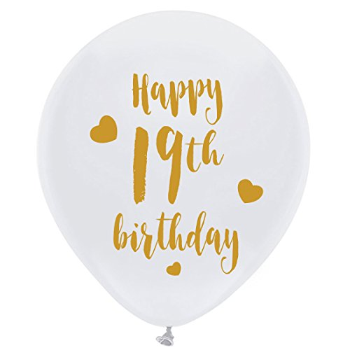 Whtie 19th Birthday Latex Balloons, 12inch (16pcs) Girl Boy Gold Happy 19th Birthday Party Decorations Supplies