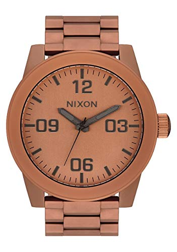 NIXON Corporal SS A359 - Matte Copper/Gunmetal - 113M Water Resistant Men's Analog Field Watch (48mm Watch Face, 24mm Stainless Steel Band) ()