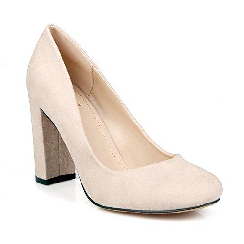 Women's Vesta Chunky Heel Round Toe Pump Shoe (6, - Round Women Nude