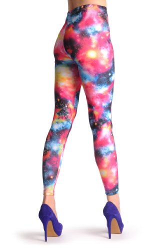 Yellow, Pink & Blue Galaxy - Multicolore Leggings Taille Unique (32-38)
