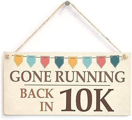 Gone Running Back In 10k Letrero de Placa de Madera Carteles ...