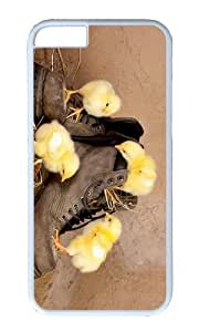 MOKSHOP Adorable Chicken on Shoes Hard Case Protective Shell Cell Phone Cover For Apple Iphone 6 (4.7 Inch) - PC White