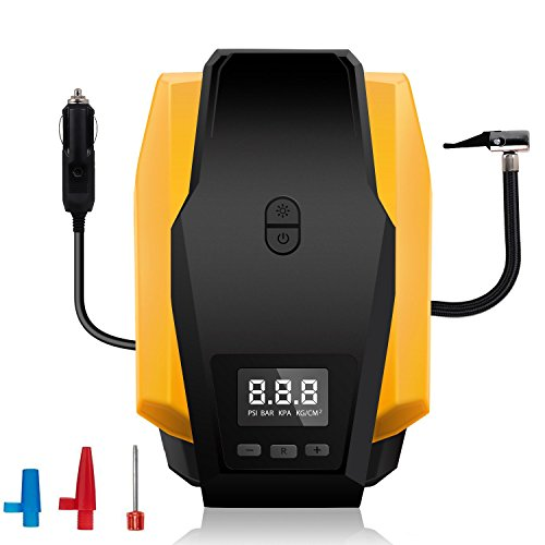 Portable Car Air Compressor Pump,12V 150 PSI Auto Digital Electric Tire Inflator with Gauge Portable Air Compressor Pump for Car, Truck, SUV, Basketballs and Other Inflatables by ISUNPOW