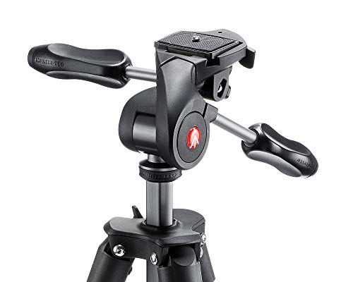Manfrotto Compact Advanced Aluminum 5-Section Tripod Kit with 3-Way Head, Black (MKCOMPACTADV-BK)