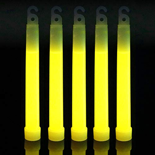 100 Yellow 6 inch Glow Sticks Bulk Pack   Long Lasting 8-12 Hours Bright Chemical Lights   Industrial Grade Emergency Light Sticks   Certified Safe Kids Halloween GlowSticks