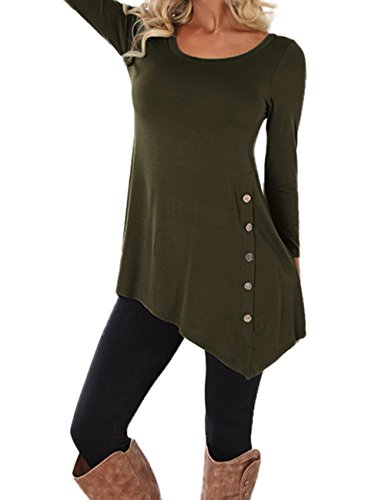 Weant Women Sweatshirt Long Sleeve Button Pullover Sweatshirt Sweater Jacket Coat Tunic Plus Size Tops Jumper Womens Sale Clearance Teen Girl T Shirt Dresses (Army Green, S)