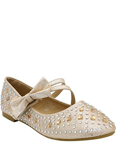 Adorababy Girls Side Bow Ankle Strap Velcro Casual Flats (Toddler/Little Kid/Big Kid) Champagne HRsxXcpCky