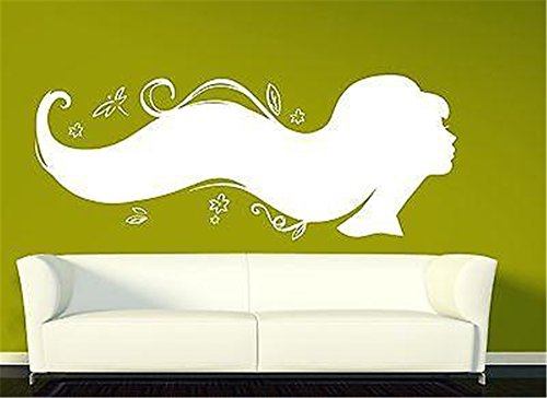 Poaziu Decals Wall Stickers Sayings Lettering Room Home Wall Decor Mural Art Silhouette Sexy Girl's Beautiful Hairstyle Beauty Salonn