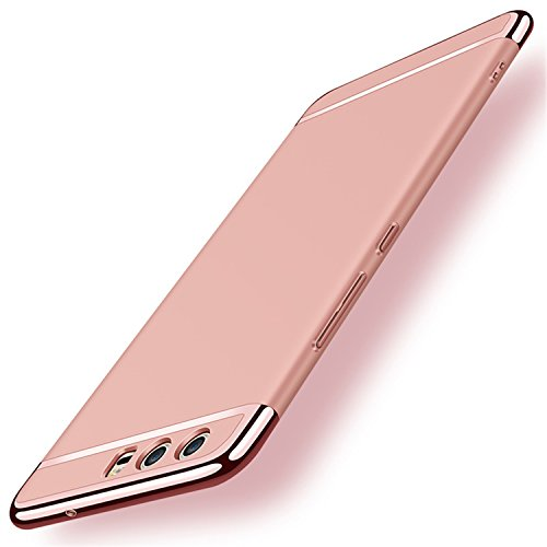 Price comparison product image Mpei Huawei P10 Lite Case Matte Coated Surface With Electroplate Frame Hard Cover For P10 Lite (Huawei P10 Lite, Rose Gold)