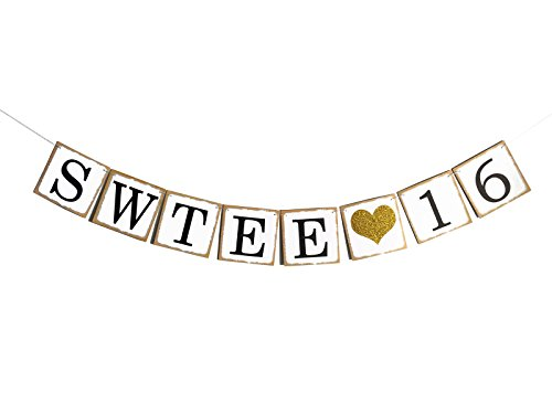 Fecedy Letters Sweet 16 Gold Glittery Banner for 16 birthday Theme Party Decoration