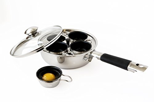 4 Cup 18/10 Stainless Steel Egg Poacher With Silicone Grip by ExcelSteel